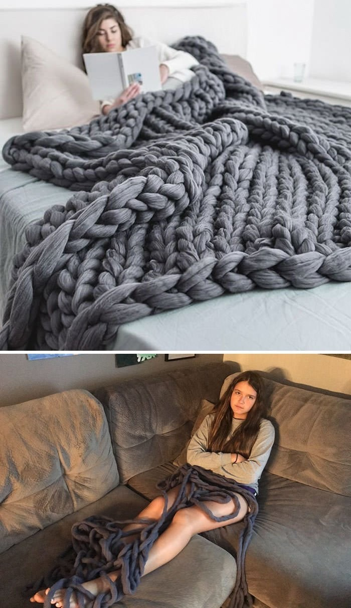 expectation vs reality meme with picture of cable knit blanket that's just a long string