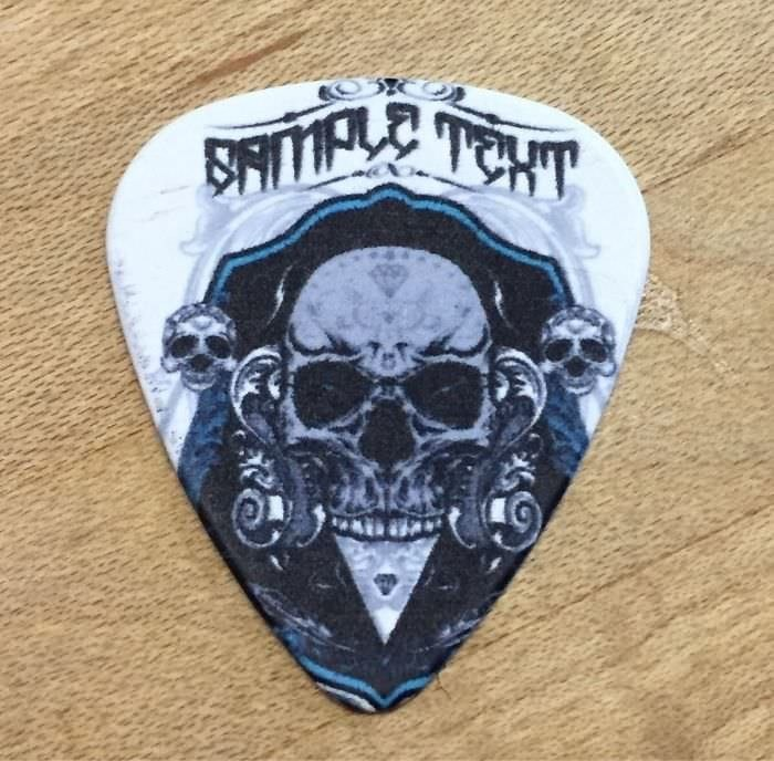 """guitar pick with image of skulls and the text """"sample text"""" printed on it"""