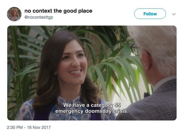 out of context Janet from The Good Place smiling cheerfully talking about an emergency doomsday crisis