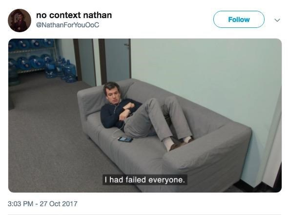 out of context Nathan Fielder laying on a couch miserable saying he failed everyone