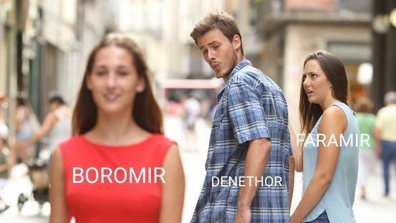 distracted boyfriend meme about Boromir being the favorite son in LotR