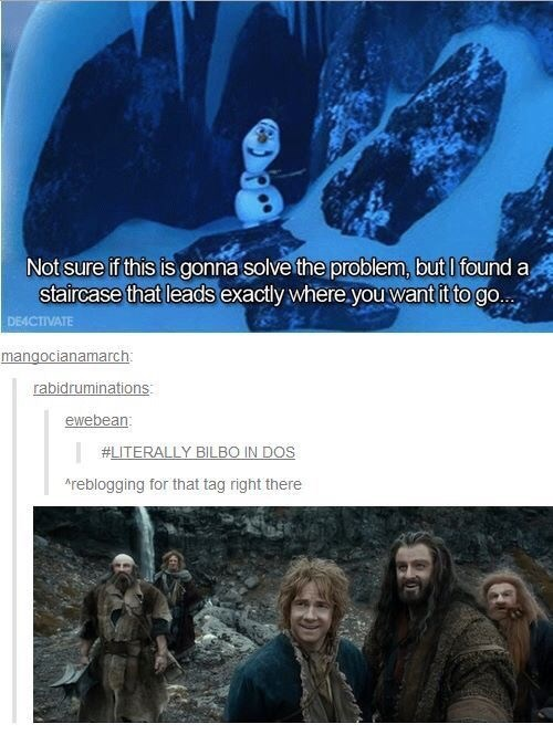 Frozen meme about Bilbo leading the dwarves in the Hobbit Movie