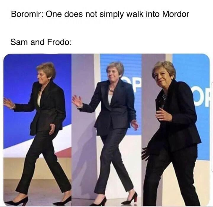 Theresa May meme about Sam and Frodo entering Mordor in LotR