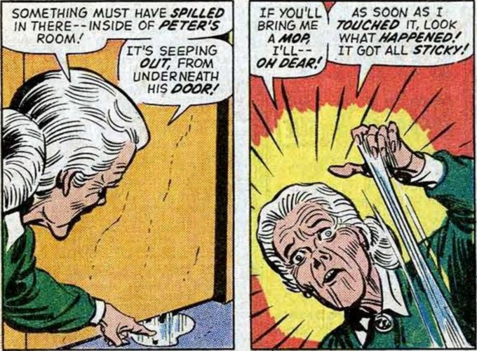out of context Spider Man comic panel showing Aunt May interacting with the web matter Peter shoots from his wrists
