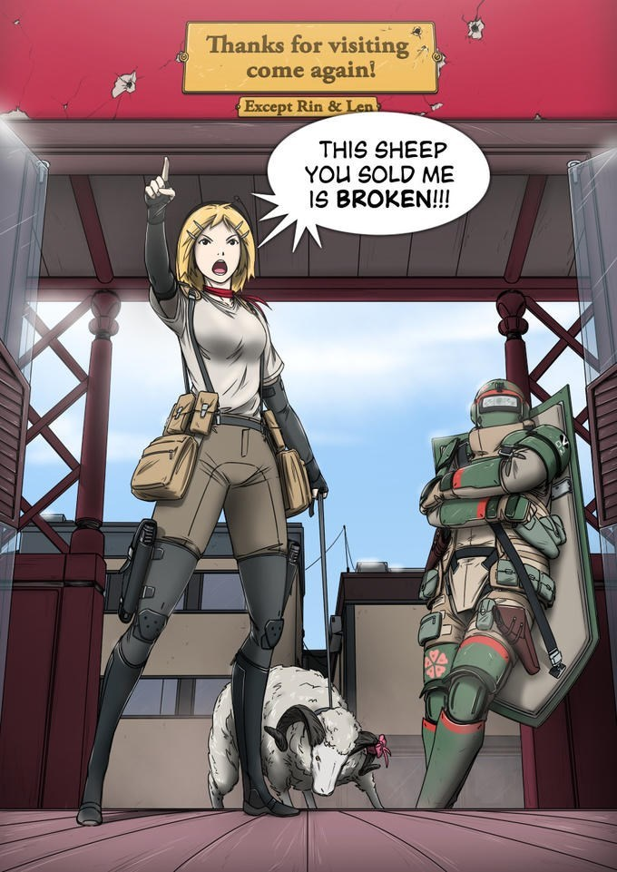 out of context comic panel of person yelling the sheep they've been sold is broken while dragging it behind them