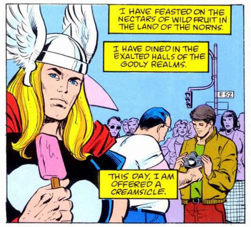 out of context Marvel comic panel of Thor disappointed by being served ice cream