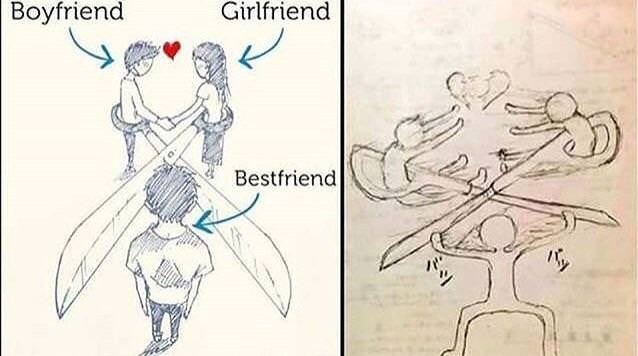 drawing of boyfriend and girlfriend about to cut best friends with scissors, and second panel of best friend breaking the scissors to separate them