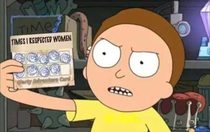 nice guy meme with Morty holding up punch card of times he'd been respectful to women