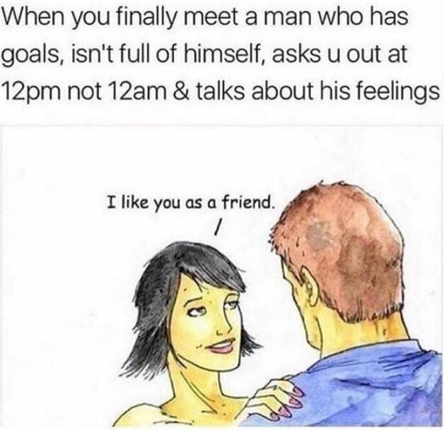 drawing of woman telling nice guy she likes him as a friend