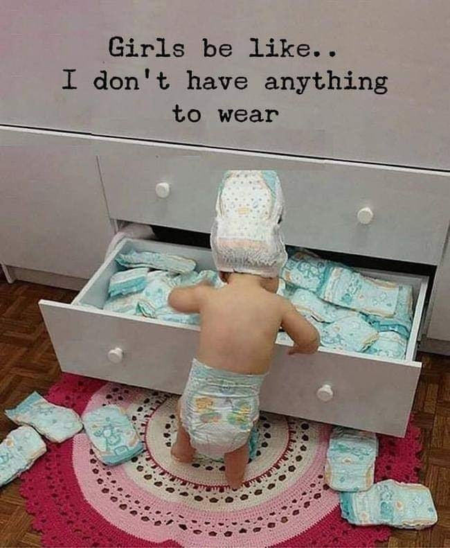meme about a baby sifting through a diaper drawer and comparing girls to it