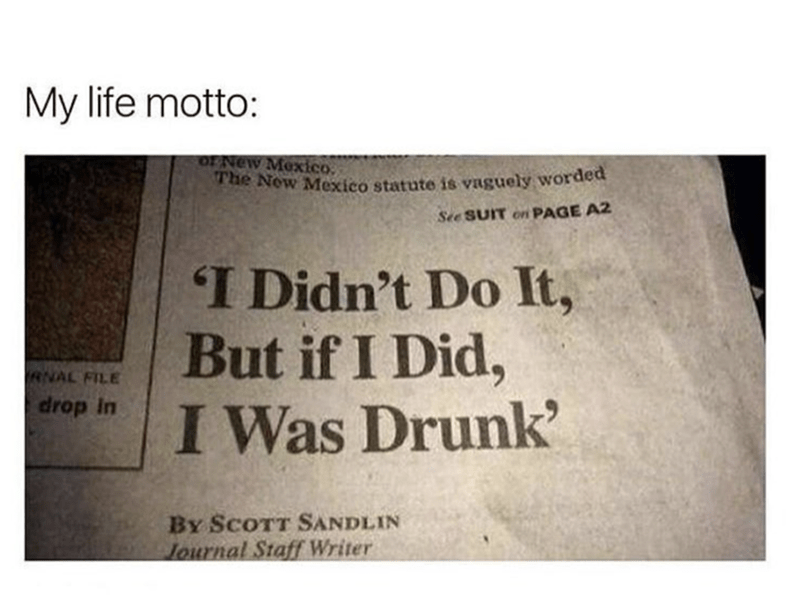 "Caption that reads, ""My life motto:"" above a headline that reads, ""I didn't do it, but if I did, I was drunk"""