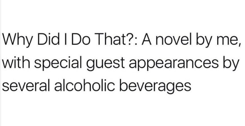 meme about writing a novel of your life and how alcohol affects you