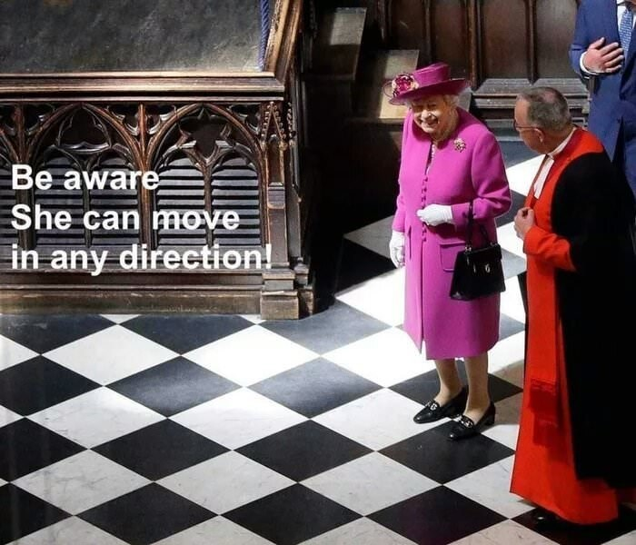 joke about Queen Elizabeth on moving on tiled floor like a Chess piece