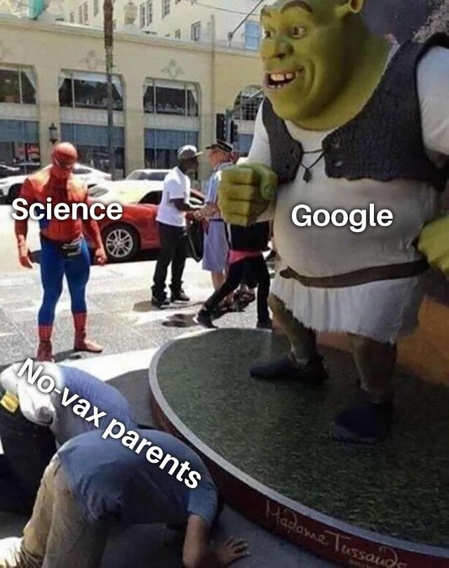 meme about anti vaxxers listening to unfounded sources on Google instead of to science