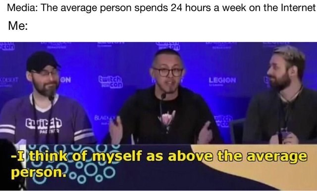 meme about being above average when it comes to the time you spend online