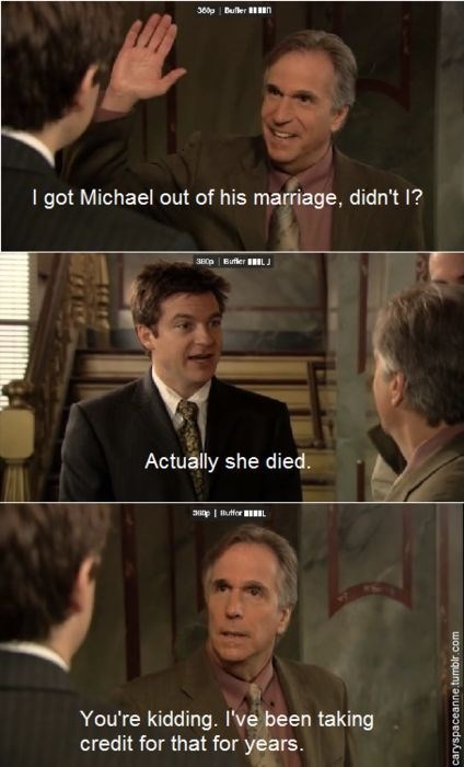 Barry Zuckerkorn telling Michael Bluth he had accidentally taken credit for his wife's death
