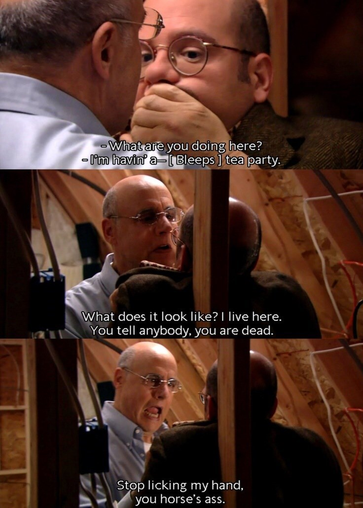 Tobias Funke finds out George Bluth Sr is living in the attic and licks his hand
