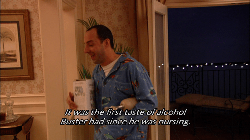 joke about Buster Bluth nursing from an alcoholic mother
