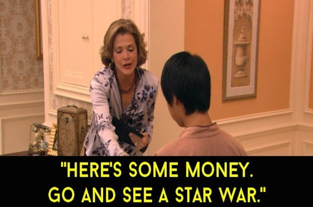 Lucille Bluth giving child money to see a singular Star Wars