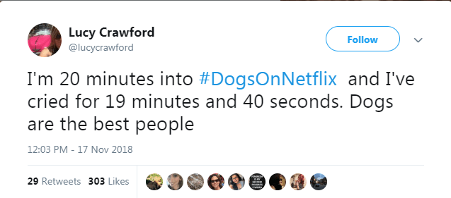 netflix dogs - Text - Lucy Crawford @lucycrawford Follow I'm 20 minutes into #DogsOnNetflix and I've cried for 19 minutes and 40 seconds. Dogs are the best people 12:03 PM - 17 Nov 2018 PEIN 29 Retweets 303 Likes