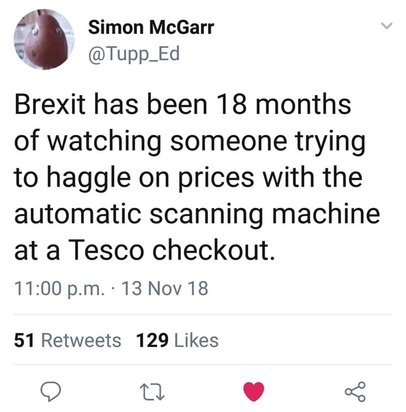tweet post about Brexit being about people haggling prices at a tesco by: @Tupp_Ed