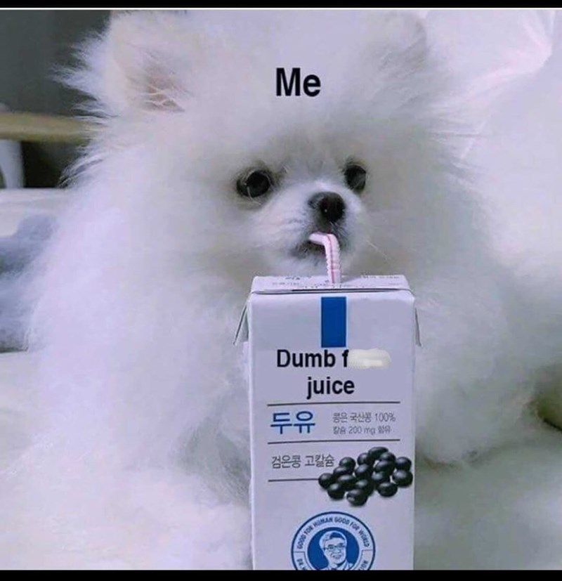 """dog meme about a dog drinking a juice called """"dump juice"""" and the dog is you"""
