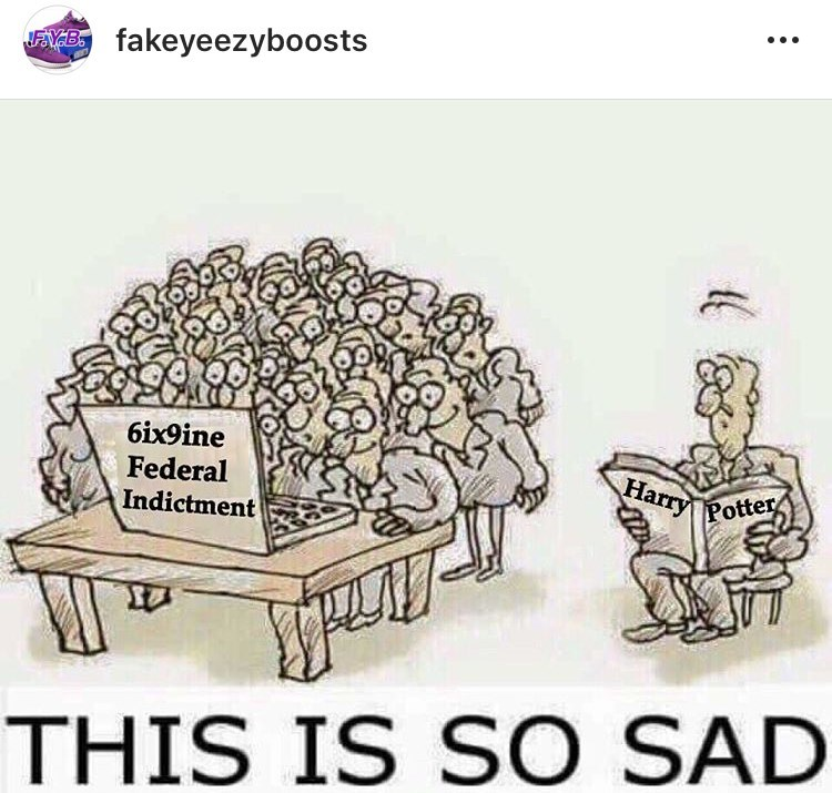 meme about people being more interested in Tekashi69's sentence than in reading books