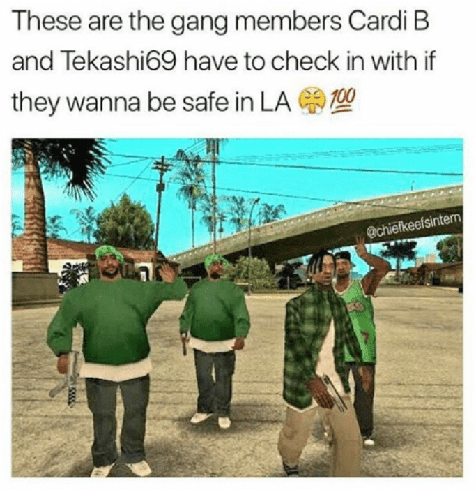 joke about rappers needing to join Grand Theft Auto gang to keep themselves safe