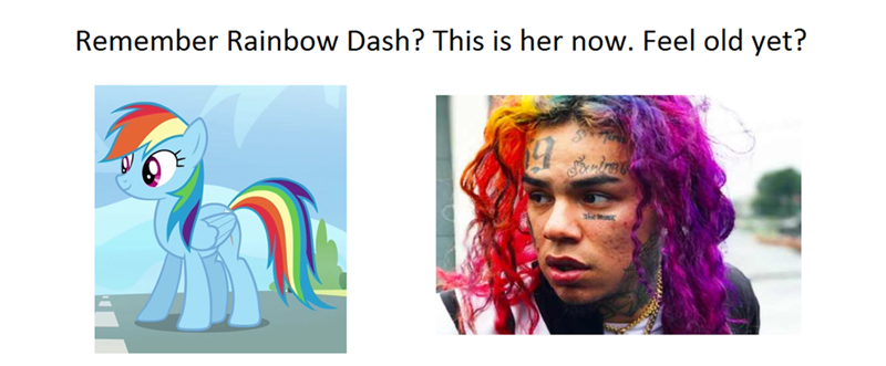 meme about Tekashi69 being the grown up version of Rainbow Dash from My Little Pony
