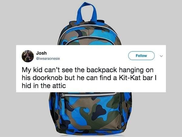 Blue - Josh Follow @iwearaonesie My kid can't see the backpack hanging on his doorknob but he can find a Kit-Kat bar I hid in the attic
