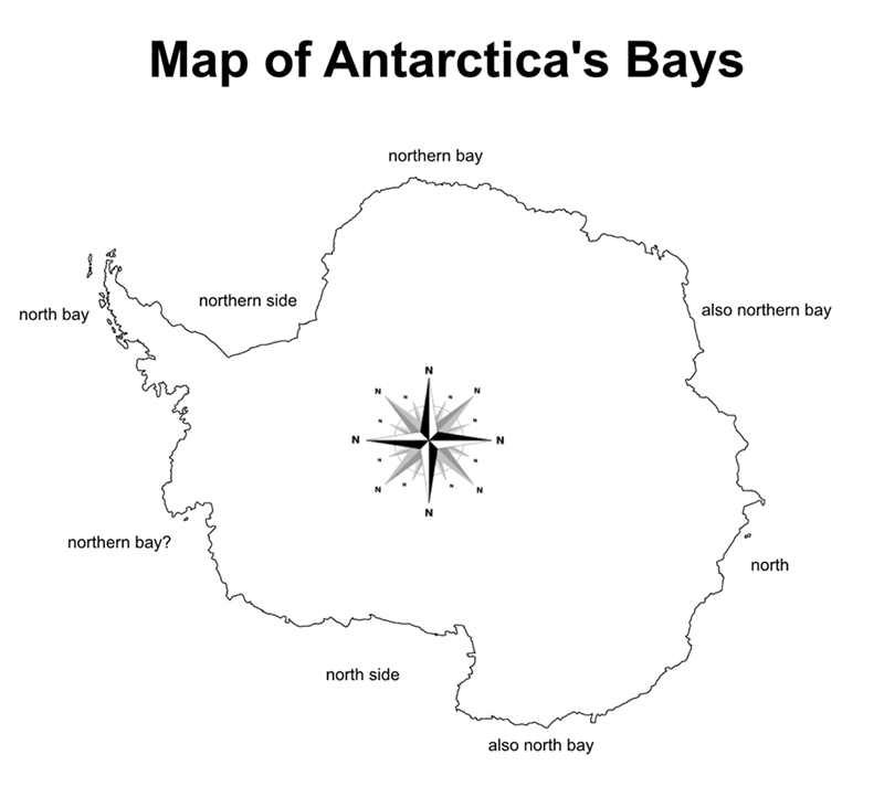 meme about the map of Antarctica's bays