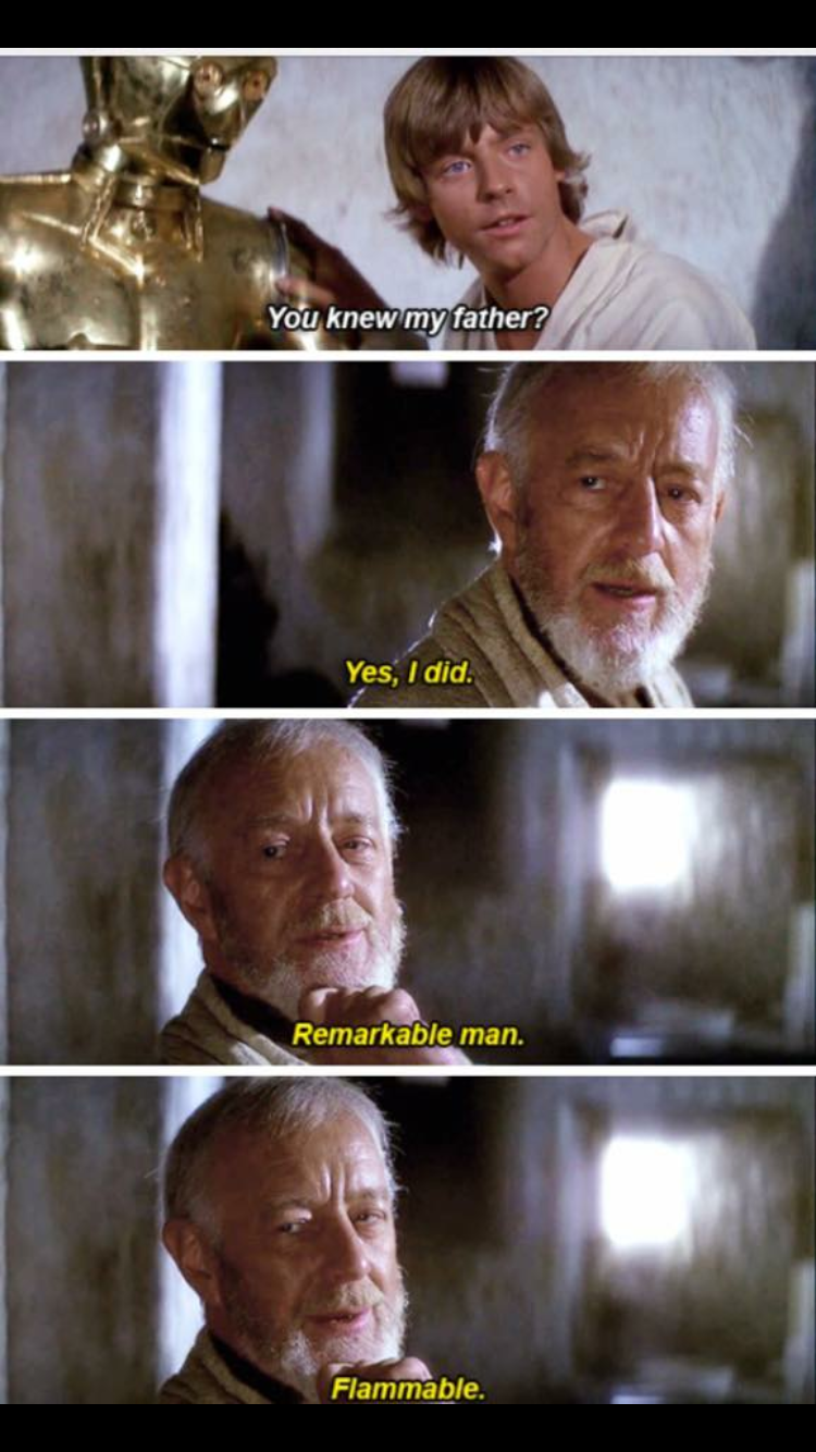 meme about Obi Wan telling Anakin about his father