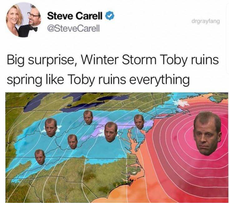 meme tweet about Michael Scott from the office saying winter storm toby ruins everything because he hates toby