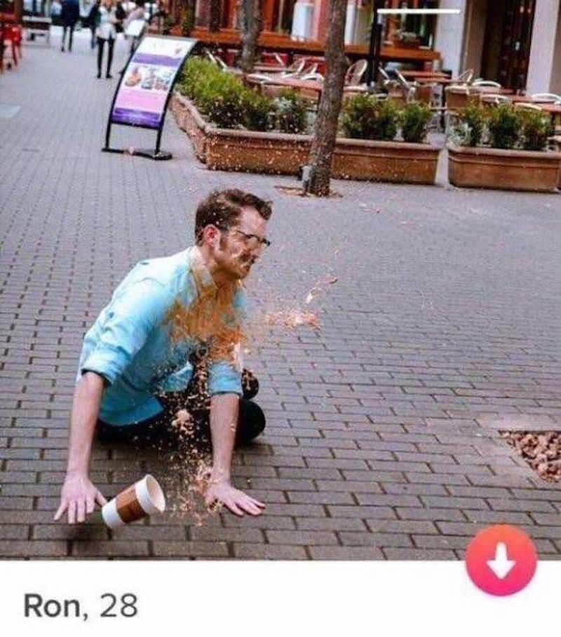 tinder profile of a man who fell and spilled his coffee