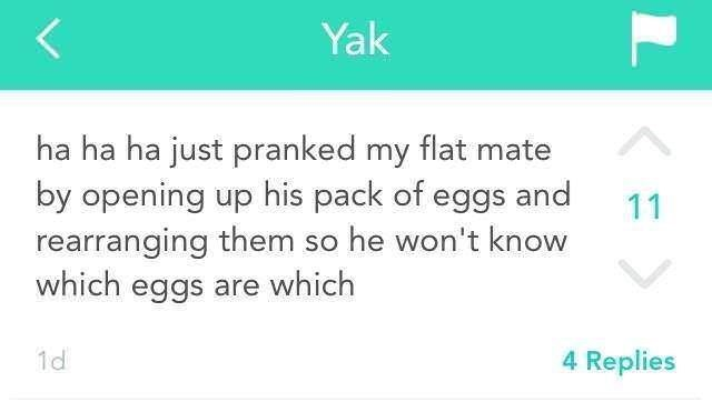 post about pranking a roommate by rearranging his eggs
