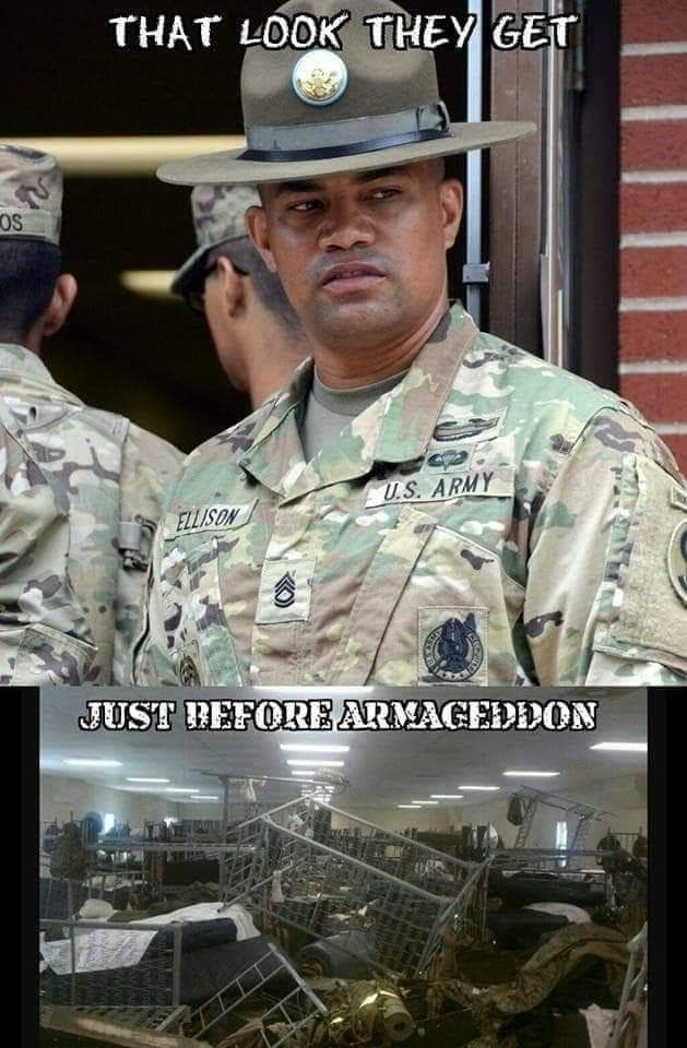 army meme about soldiers getting in trouble for having messy dorms