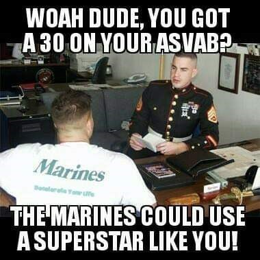 army meme about the marines recruiting people with terrible grades