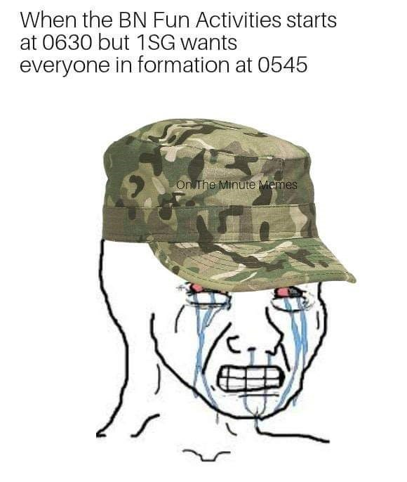 military meme about waking up early with crying face meme with bloodshot eyes