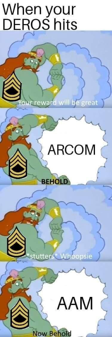 army meme with king Poseidon from Spongebob rewarding AAM rather than ARCOM