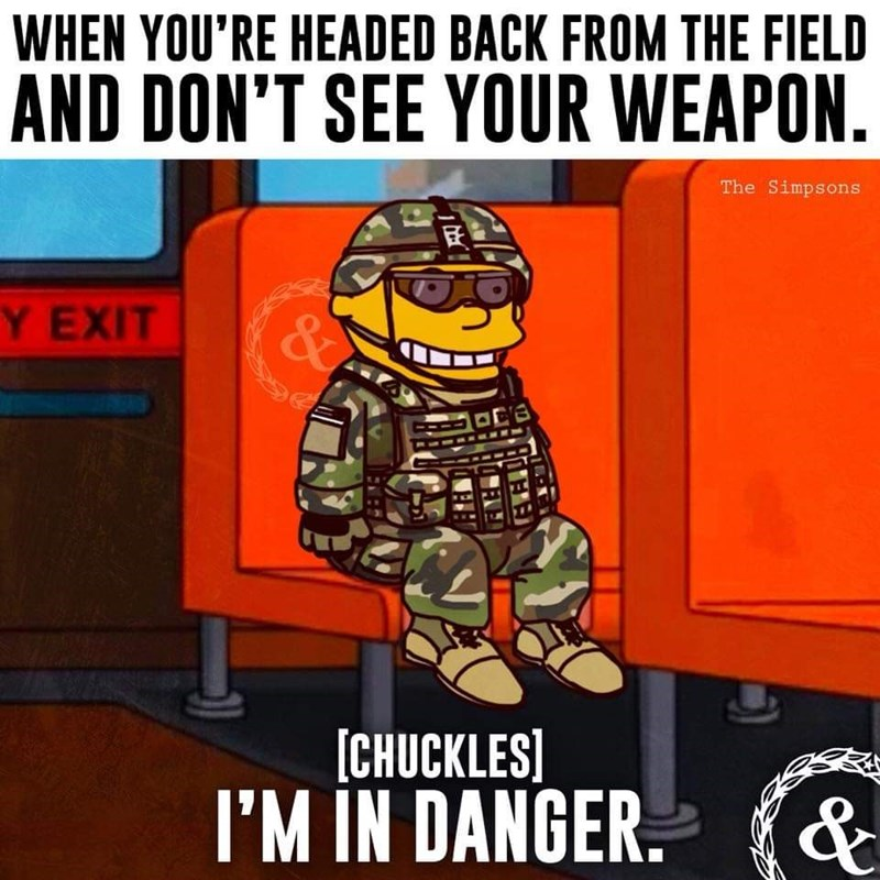 army meme with Ralph from the Simpsons about losing your weapon