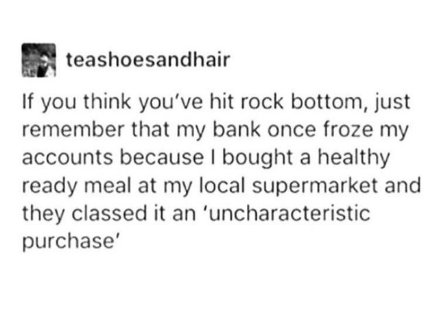Funny meme about health, tumblr, rock bottom