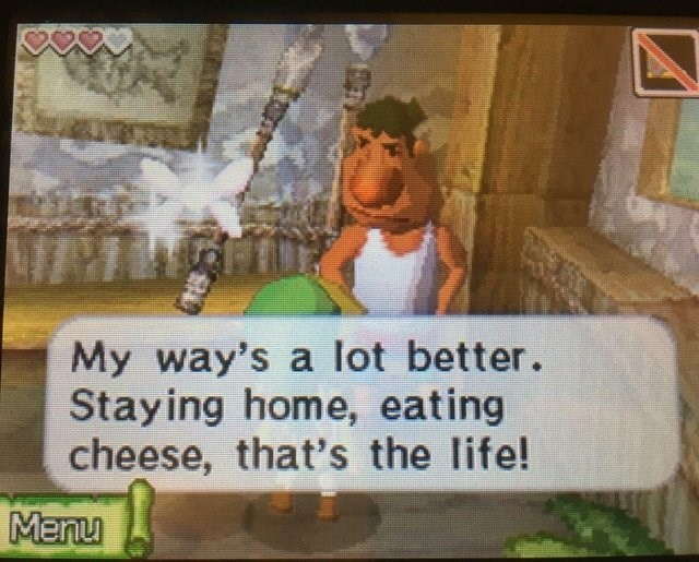 Funny meme about staying home and eating cheese.