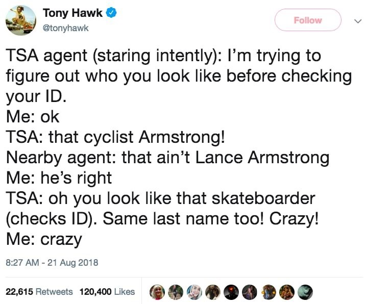 Tony Hawk not getting recognized by people