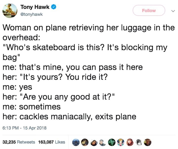 tony hawk asked by a woman if he is good at skateboarding
