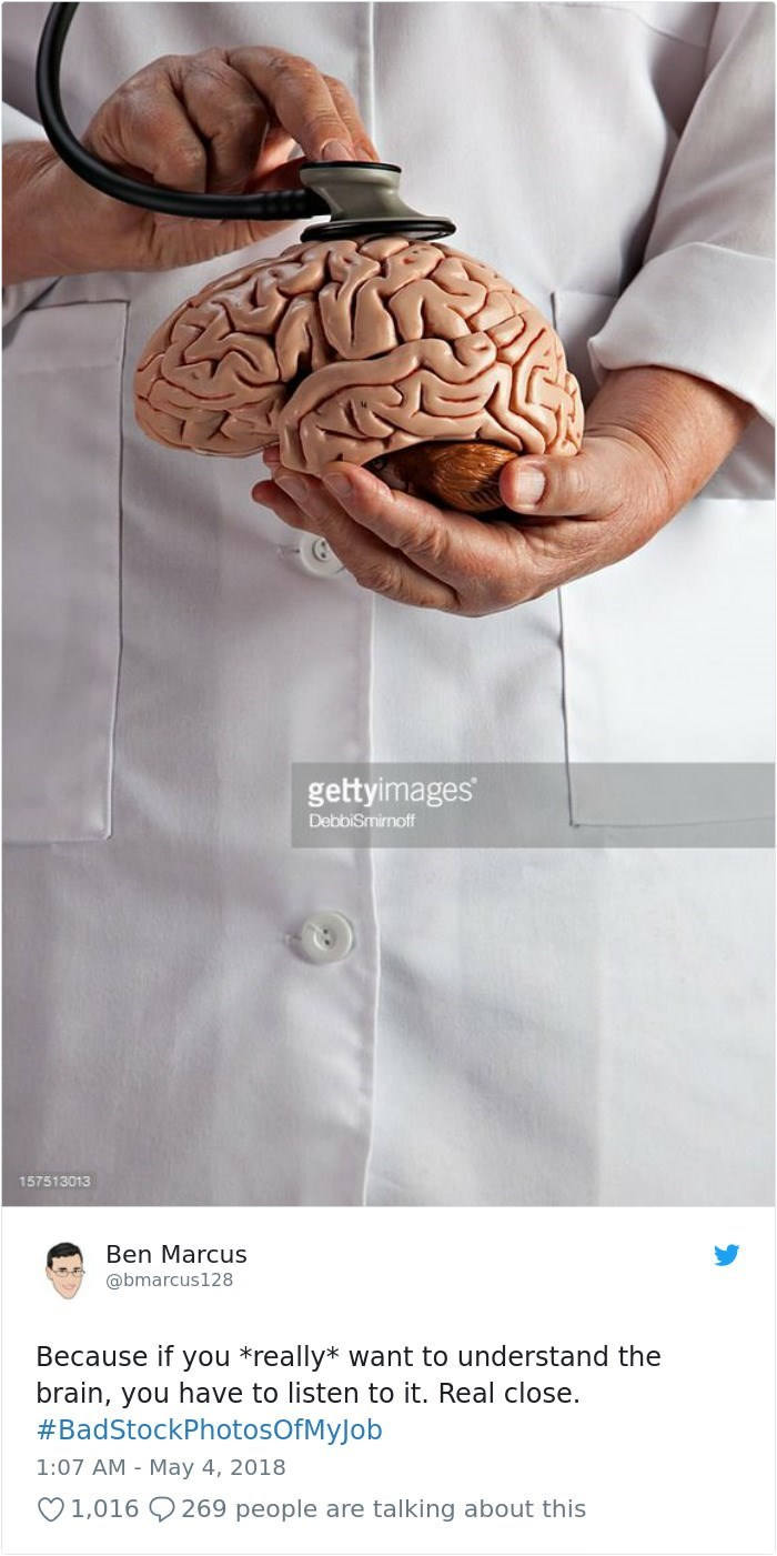 stock photo job - Brain - gettyimages DebbiSmirnoff 157513013 Ben Marcus @bmarcus128 Because if you *really* want to understand the brain, you have to listen to it. Real close. BadStockPhotosOfMyJob 1:07 AM May 4, 2018 269 people are talking about this 1,016