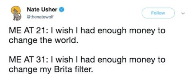 Text - Nate Usher Follow @thenatewolf ME AT 21: I wish I had enough money to change the world ME AT 31: I wish I had enough money to change my Brita filter.