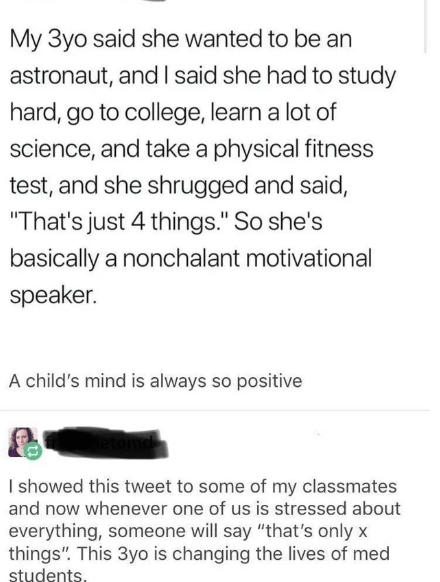 """Text - My 3yo said she wanted to be an astronaut, and I said she had to study hard, go to college, learn a lot of science, and take a physical fitness test, and she shrugged and said, """"That's just 4 things."""" So she's basically a nonchalant motivational speaker. A child's mind is always so positive I showed this tweet to some of my classmates and now whenever one of us is stressed about everything, someone will say """"that's only x things"""". This 3yo is changing the lives of med students"""