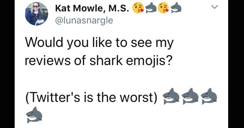 Twitter thread where woman reviews the accuracy of different emojis including sharks and scientists