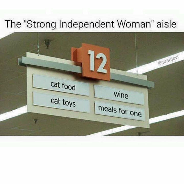"Furniture - The ""Strong Independent Woman"" aisle 12 @aranjevi cat food wine cat toys meals for one"