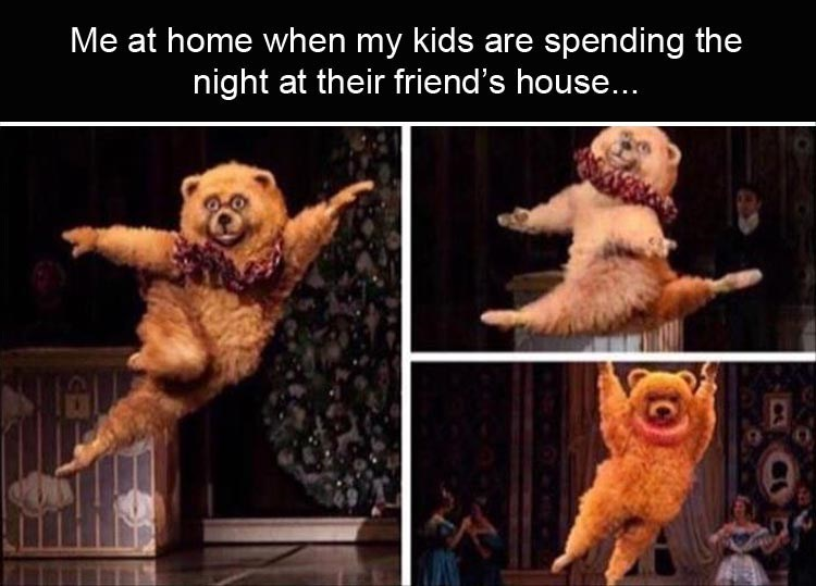 pictures of ballerina in bear costume dancing and jumping to represent feeling elated at being home without your kids